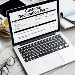 Customs Declaration Form Invoice Freight Parcel Concept